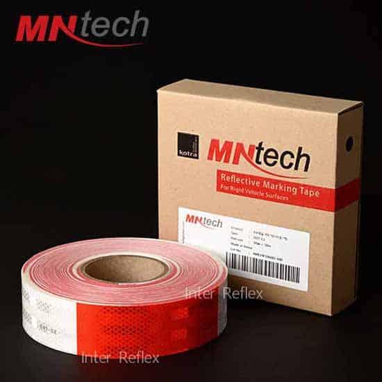 สติ๊กเกอร์สะท้อนแสง MNtech สีขาวสลับแดง